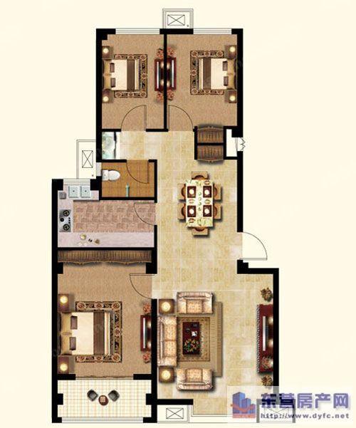 二室两厅 100平米三室两厅cad设计图-84平米三室两厅要怎么样 宽300×图片