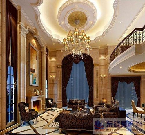 别墅欧式装修客厅灯5.5米高图片