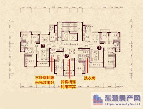 三室两厅一卫105㎡户型图