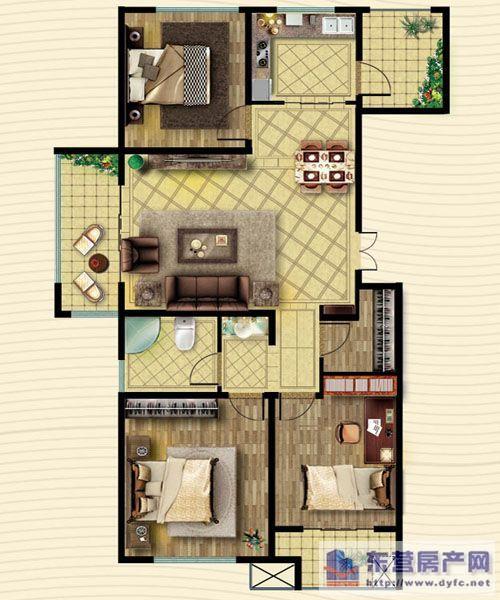 九十平三室平面设计图